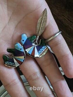 Vintage ZUNI Native American Sterling Silver Multi-Stone Bear Earrings Pair