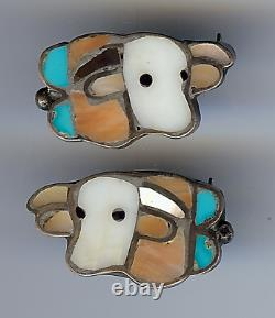 Vintage Zuni Silver Inlaid Turquoise Coral Onyx Cow Matching Pair Lapel Pins