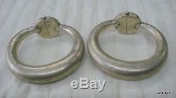 Vintage antique collectible tribal old silver Anklet Feet Bracelet Bangle pair