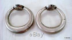 Vintage antique collectible tribal old silver bracelet bangle pair rajasthan ind