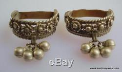 Vintage antique ethnic tribal old silver big toe ring pair belly dance jewelry