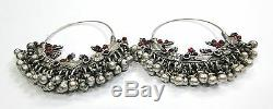 Vintage antique ethnic tribal old silver jewelry earring pair Rajasthan India