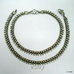 Vintage antique tribal old silver anklet pair feet bracelet ankle chain