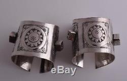 Vintage berber Bedouin silver bracelet Cuff Pair-Lybia
