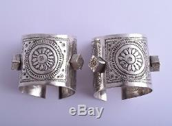 Vintage berber Bedouin silver bracelet Cuff Pair-North african/middle eastern