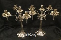 Vintage pair large quadruple Candleabras art nouveau H6