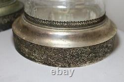 Vintage pair of 2 cut clear crystal glass silver toned electric table lamps
