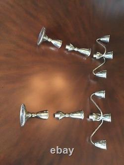 Vintage sterling pair of triple candelabra