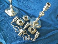 Vntg Pair Sterling Silver 13 1/2'' Tall 3 Candle Candelabras Weighted Aprx 4.5lb