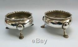 Vtg 1769 Pair of Robert Sallam Georgian George II Solid Silver Salts Cellars