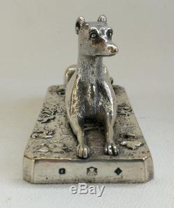 Vtg 1847 Pair of Victorian Elkington Silver Plate Greyhound Dog Paperweights