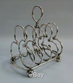 Vtg 1896 Pair Hukin & Heath Solid Silver Clover Club Toast Racks Dresser 12174