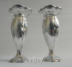 Vtg 1916 Pair of Art Nouveau Deco Solid Silver Joseph Gloster Ltd Bud Vases 301g