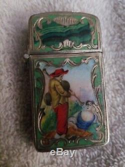 Vtg Couple Cloisonne Enamel 800 Italian Silver Zippo Lighter Case Cover Engraved
