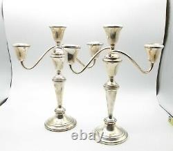 Vtg Fisher Sterling Silver Convertible Candelabra 376 Candle Holder Pair Adjusts