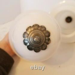 Vtg MCM Milk Glass Hanging Swag Silver Light Fixture Pair in perfect condition