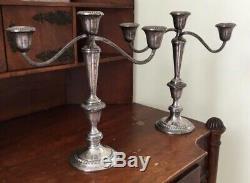 Vtg Pair 11.5 Gotham 3-Light Sterling Silver Weighted Candelabra Candlesticks