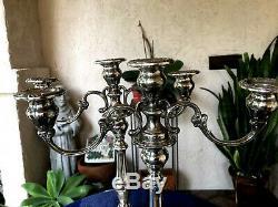 Vtg Pair Gorham Sterling Silver Chantilly Duchess 3-Cup Candelabras 750 13.5in T