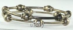Vtg Pair Hand Wrought Sterling Silver Ball Bangle Bracelets