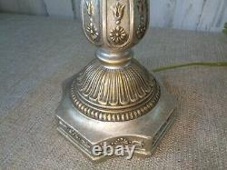 Vtg Pair Heyco Silver & Gold Buffet Lamps Table Lamps Hollywood Regency 35 tall