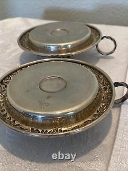 Vtg Pair Kirk Sterling Silver Chamber Candlestick Holders By Kirk & Son Rare