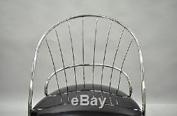 Vtg Pair Sleek Chrome Mid Century Modern Dining Lounge Living Room Club Chairs