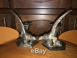 Vtg WB Weidlich Brothers Pheasant Silver Plated Candlestick Holder Pair #2272