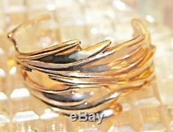Vtg Zuni Cochiti Artisan 925 Sterling Gold Vermeil Je (joe Eustace) Cuff Brace