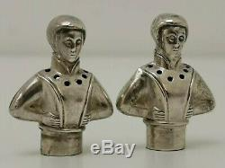 Vtg c1900 SNM Novelty Pair of Lady Figural Solid Sterling Silver Pepper Shakers