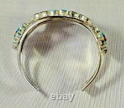 Zuni Sun Face Cuff Bracelet, Sterling Silver Vintage Native American Inlay Brace