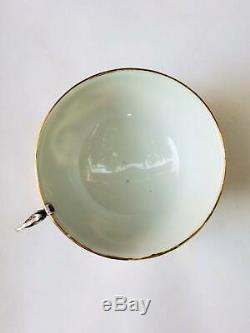 1950 Coupe Paire Thé Soucoupe Vintage En Argent Sterling 875 Porcelaine Gravé Vietnam