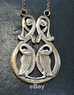 1989 Vintage Argent Sterling Celtique Paire De Oiseaux Écossais Poinçonnés Necklace