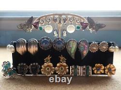 22 Paires De Clip Vintage Sur Screw Back Boucles D'oreilles Non Percées Lot Sterling Silver