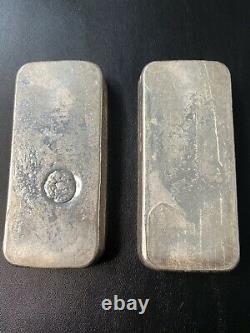 2 Consécutive Rare Vintage Kilo Silver Bar Johnson Matthey Jm 999 Canada Paire #d