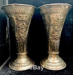 2 Paires Old Victorienne Antique / Vintage Plaqué Argent Vases Urnes Coupes Ornement