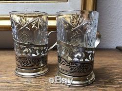 2 Porte-tasses À Thé Vintage En Argent Massif Et Verre Pressé Signé Russe