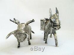 2 Vintage En Argent Sterling Toothpick Match Porte Miniature Âne Bull 925 Paire