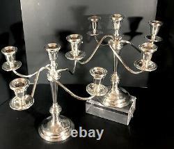 2 Vintage Sterling Silver Preisner Candelabras 5 Bras Chaque Paire Pondérée