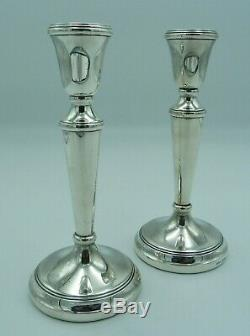2 Vintage Taille Moyenne En Argent Massif Bougeoirs (deux, Paire) 19cms 458g