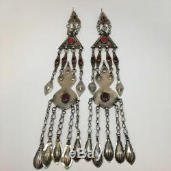 2x Paire Vieux Pendentif Tribal Turque Afghan Ats Gland Tribal Allemand Argent, Tk84