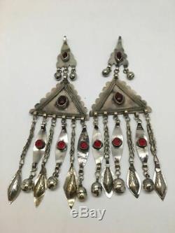 2x Vieille Paire Afghane Turkmène Tribal Ats Tassel Pendentif En Argent Tribal Allemand, Tk94