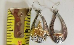 3 Paires Vintage Des Années 80 Vogt Western Boucles D'oreilles 14k Gold Fill / Sterling Silver