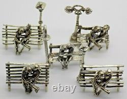 5 X Vintage Solid Silver Italien Fait Couple Dans L'amour Figurines Job Lot Marques Hallmarks