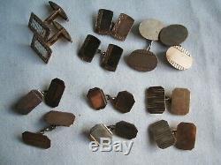 6 Paires De Boutons De Manchette Vintage En Argent Massif Et Or