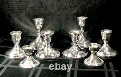 8 Porte-bougies Sterling Vintage Paires Sterling Silver Candlesticks 4 Paires