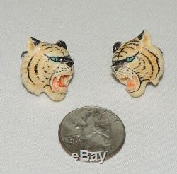 Absolument Magnifique Paire De Boutons De Manchette Tigre Sculptés À La Main En Argent Sterling