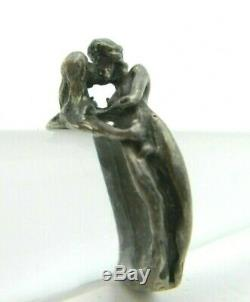 Amoureux Érotique De Couple Amour Faire Embrassant Figural Bague Vtg En Argent Sterling 6.5