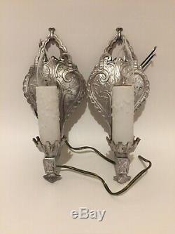 Antique Vintage Art Déco Art Nouveau Verrerie Paire Lumières Métalliques Lampes Electr