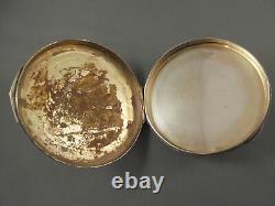 Antique Vintage Italie Argent & Poudre D'émail Accompagnants Compacts De Courtage