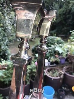Antique Vintage Or Paire De Solides Argent Candlestick Londres 1971 Est Scrap 564 Gra